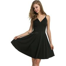Meaneor Women Strap Pleated Dress High Waist V-neck Solid Casual Party OO5502