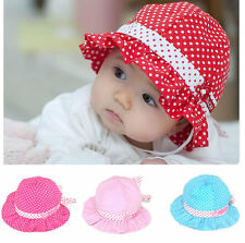 Kids Girl Infant Newborn Baby Polka Dot Flower Sun Hat Cap Beanie Accessories