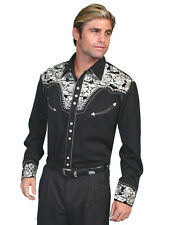 Scully Mens Embroidered Western Shirt Silver Perl Snap Black P-634