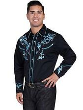 Scully Western Mens Shirt Long Sleeve Embroidered Studded Perl Snap Black P-844