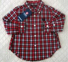 CHAPS NWT Boys Red Plaid Button Down Long Sleeve Shirt 12M 18M