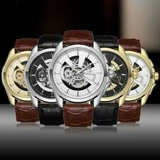 Mens Leather Wrist Mechanical Watch Skeleton Automatic Steampunk Fashion Sport
