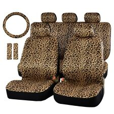 Luxury 13pc. Universal Leopard Zebra Print Soft Plush Car Seat Cover Set