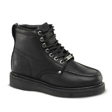 "Mens Black 6"" Mocc Toe Leather Steel Toe WP Work Boots BAT-630 Size 5-13 (D, M)"