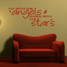 FLY WITH THE ANGELS.. wall quote transfer graphic vinyl large sticker niq12