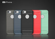 Newest Carbon Fiber Texture Slim TPU Back Cover Case Skins For Apple iPhone