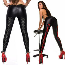 Fashion Sexy Women's Skinny Faux Leather Stretch Pants Leggings Tight Wet Look