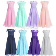 Girls Chiffon Lace Cap Sleeves Flower Dresses Pageant Wedding Bridesmaid Gown