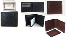 2in1** NEW COACH Leather Compact ID Signature WALLET- BLACK +Receipt +Gift BOX