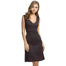ANGVNS Ladies Women Summer Tank Dress V-neck Polka Dots Slim Fitted OO5501