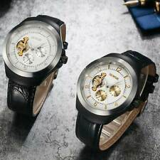 Black Leather Skeleton Wrist Automatic Watch Mechanical Tourbillon Arabic Dial