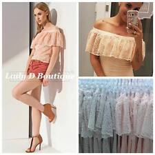 NEW UK Women Off Shoulder Lace Style Party Everyday Shirt Blouse Top SIZE UK 8