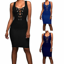 Womens Club Dress Hollow Out Bandage V Neck Midi Cocktail Sexy Party Dresses