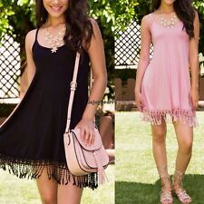 Summer Women Casual Spaghetti Strap Bodycon Tassel Tank Short Dress OO5501