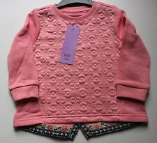 Girls Pink Or Cream Floral Stitch Long Sleeved Top