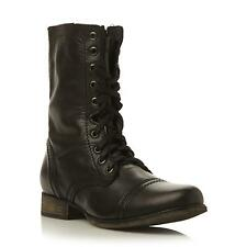 Steve Madden Ladies TROOPA SM Steve Madden Lace Up Leather Calf Boot in Black