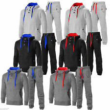 Mens tracksuit Contrast Cord Fleece Warm Up Hooded 3 Button Jogging Full Suit