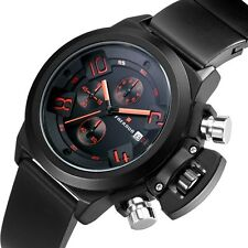 Mens Black Rubber Wrist Band Steampunk Quartz Watch Date Analog Sport Fashion