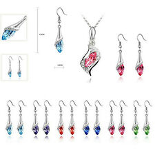 HOT 2016 1 Set Hot Crystal Earrings NEW Austrian Combination Fashion Necklace