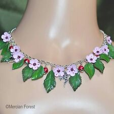 Cherry Blossom Flower Fairy Necklace - Handmade Clay Flowers, Spring, Fae, Sidhe