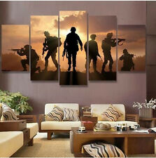 US Army Soldier Sunset Canvas Wall Oil Art Modern Painting Picture Home Decor