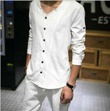 US Sz Chinese Men's Long Sleeve V Collar Cotton Linen Casual Shirts Button Front