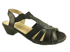 LADIES FAUX LEATHER ELASTICATED LEATHER LINED STRAPPY SANDALS BLACK SIZE 3-8