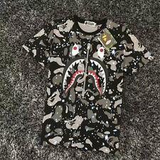Men's Bape Camo Gray Shark Head Icon Fake Zipper luminous A bathing Ape T-Shirt