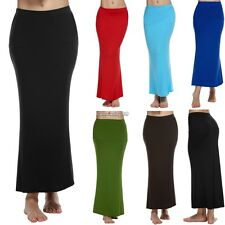 ACEVOG Women Ladies Medium Elastic Waist Stretch Bodycon Pencil Skirt Maxi C1MY