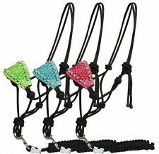 Adjustable Padded  Alligator Print Bronc Style Rope Halter w/ Removable 7' Lead