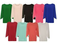 Womens Plus Size Chiffon Sheer Lined Long Open Sleeve Ladies Party Top UK 14-28