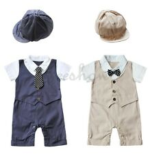 2pcs Baby Boy Infant Kids Gentleman Hat+Romper Jumpsuit Clothes Outfit Clothes