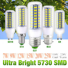 7~25W E27 E14 B22 G10 G9 5730 SMD LED Corn Bulb Lamp Light 110/220V Ultra Bright