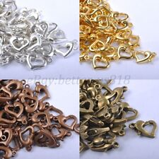 Gold & SILVER PLATED, Bronze, Copper ,Metal Heart Lobster Clasps Hooks 12MM