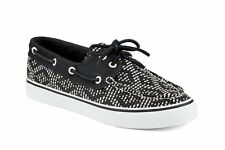 New Sperry Bahama 2-EYE Tribal Print Black White Women's Trainers Boat Shoes