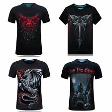 Punk Mens Cool 3D Skull Wolfs Crew Neck Summer T-shirts Rocky Casual Street Tops