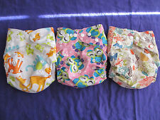 Lot of 3 New Girls Tagless ALVA Cloth Pocket Diapers With Double Gussets