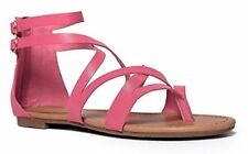 BRECKELLES RUBY-65 PINK STRAPPY FLAT GLADIATOR THONG SANDAL