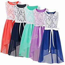 Flower Girl Lace Chiffon Tulle Dress Pageant Wedding Bridesmaid Formal Party