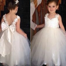 Lovely Girls Party Bow Flower Kids Birthday Bridesmaid Ball Gown Formal Dresses