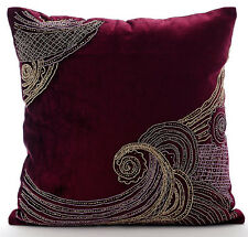 Purple Zardozi Cushions Cover, Velvet 45x45 cm Cushion Covers - Zardozi Waves