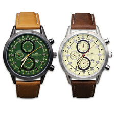 Mens Army Sport Watch Male Leather Strap Quartz Date Wrist Watches Fashion New