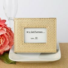Gold metallic photo frame or placecard holder with textured leatherette diamond