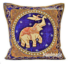 Asian Elephant Thai Embroidered Heavy Beaded Pillow Cushion Cover Home Decor 18""