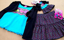 NEW 5PC SKIRT OUTFIT (6-6X, 10-12) + SET FOR AMERICAN GIRL DOLL DOLL + BOWS