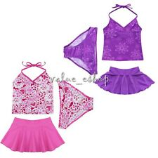 3PCS Girl Kid Halter Swimsuit Floral Tankini Set Bathing Suit Swimwear Size 2-14