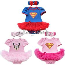 2PC Newborn Baby Girl Minnie Mouse Romper Bodysuit Jumpsuit Dress Clothes Outfit