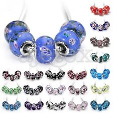 5/10pcs Murano Glass Beads Lampwork For European Bracelet Lots 2Size CALB4