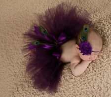 Baby Girl Peacock Feathers Headband tutu Dress Costume Photo Prop Outfit