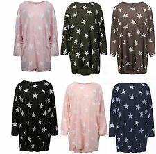 New Ladies Star Print Top High Low Oversized Womens Batwing Baggy Plus Size